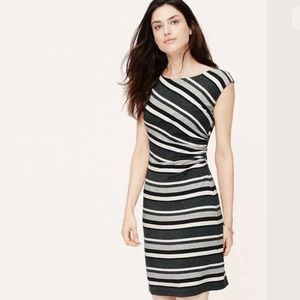 ANN TAYLOR LOFT BOLD STRIPE SIDE SHIRRED DRESS